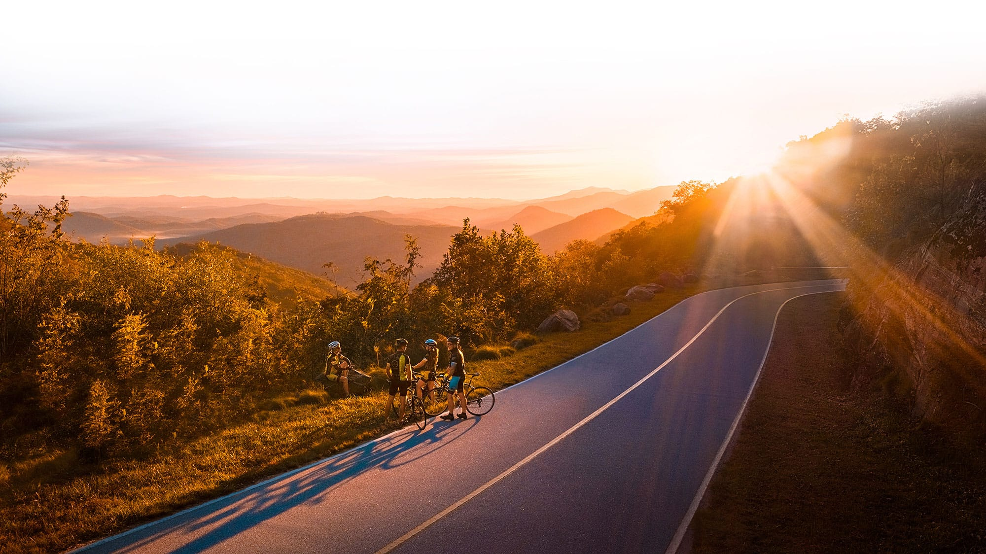 Cyclists taking in the view on The Blue Ridge Parkway