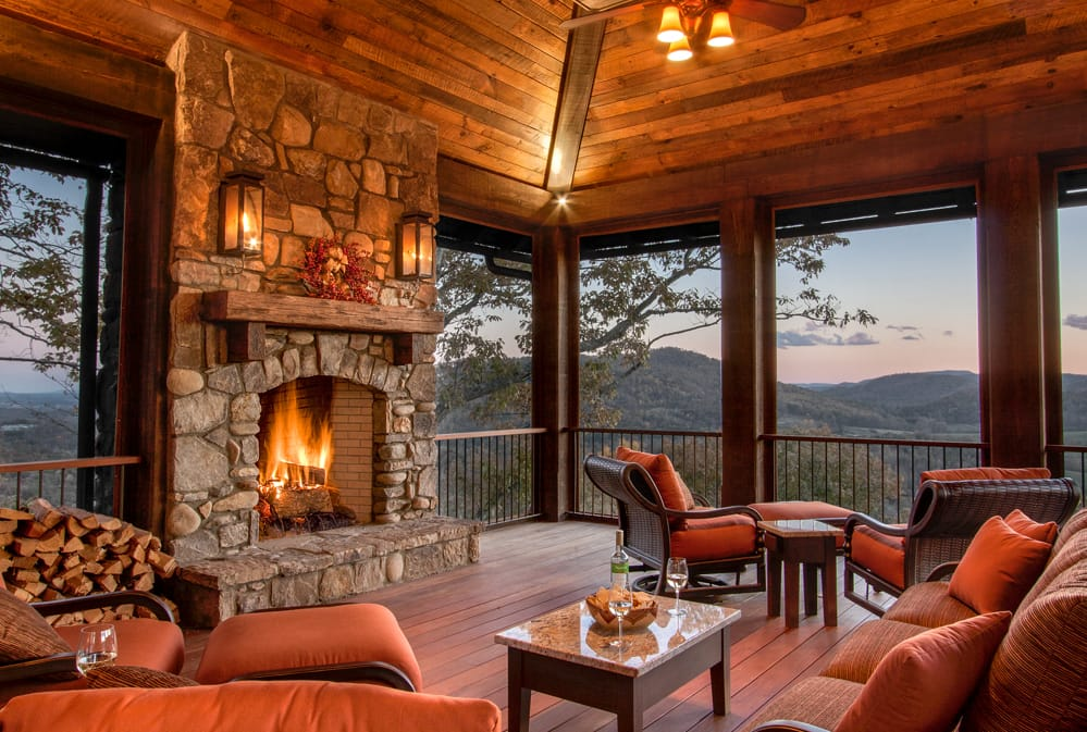 Fireplace On The Porch at The Cliffs