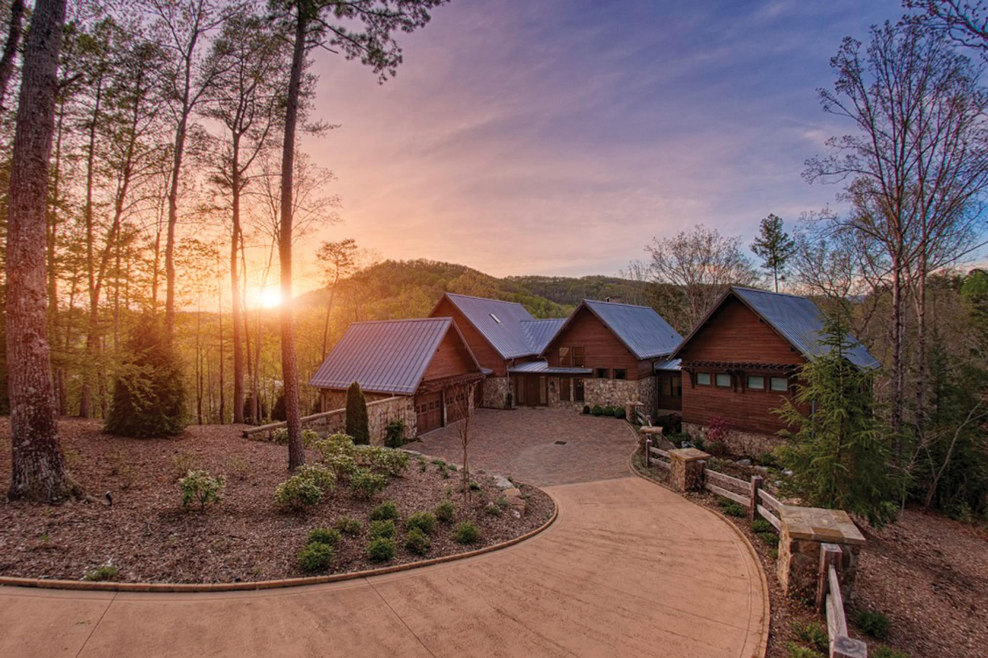 Sunrise Over Custom Home at The Cliffs