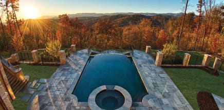 Backyard pool view