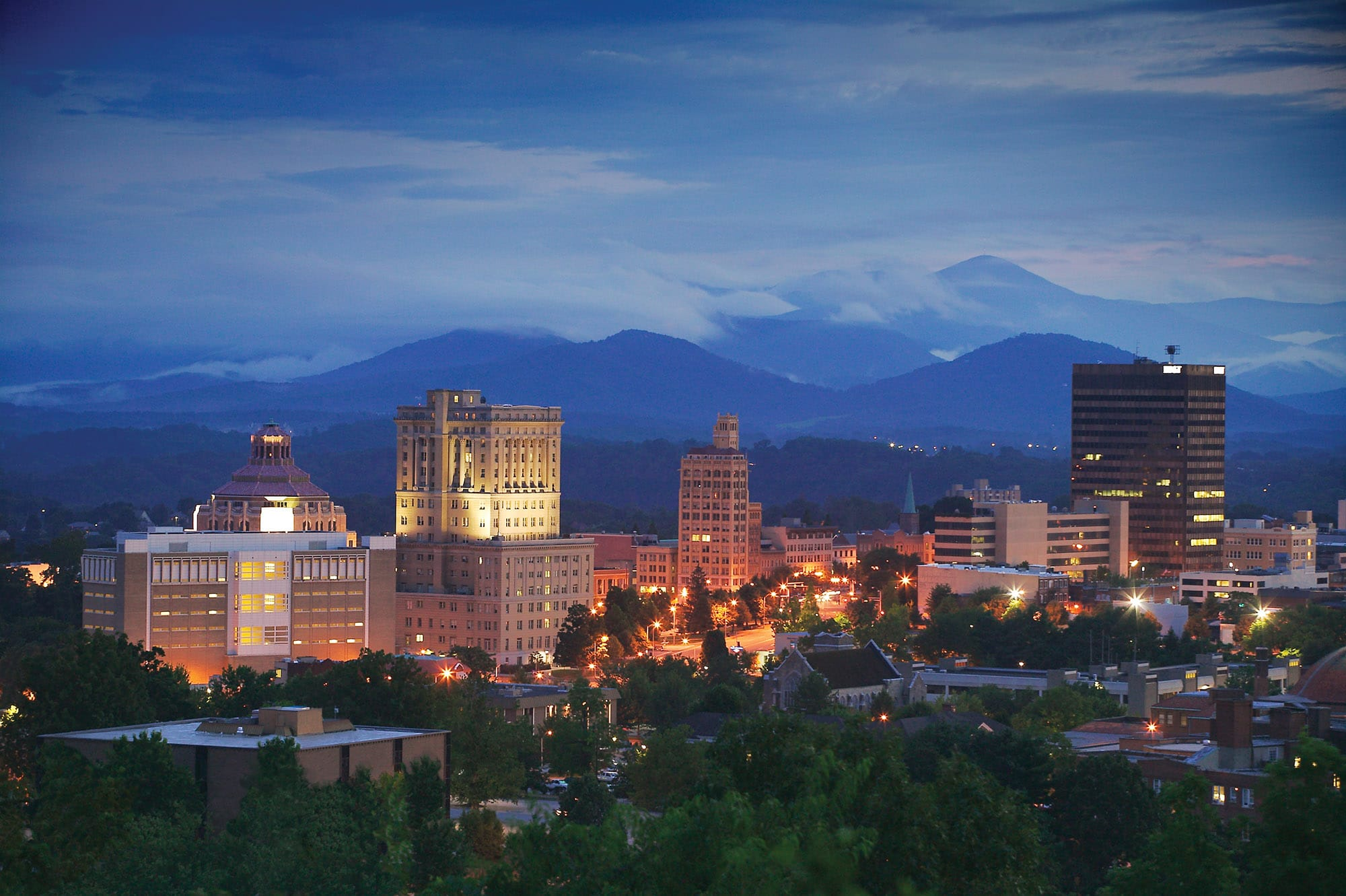Asheville NC skyline at dusk