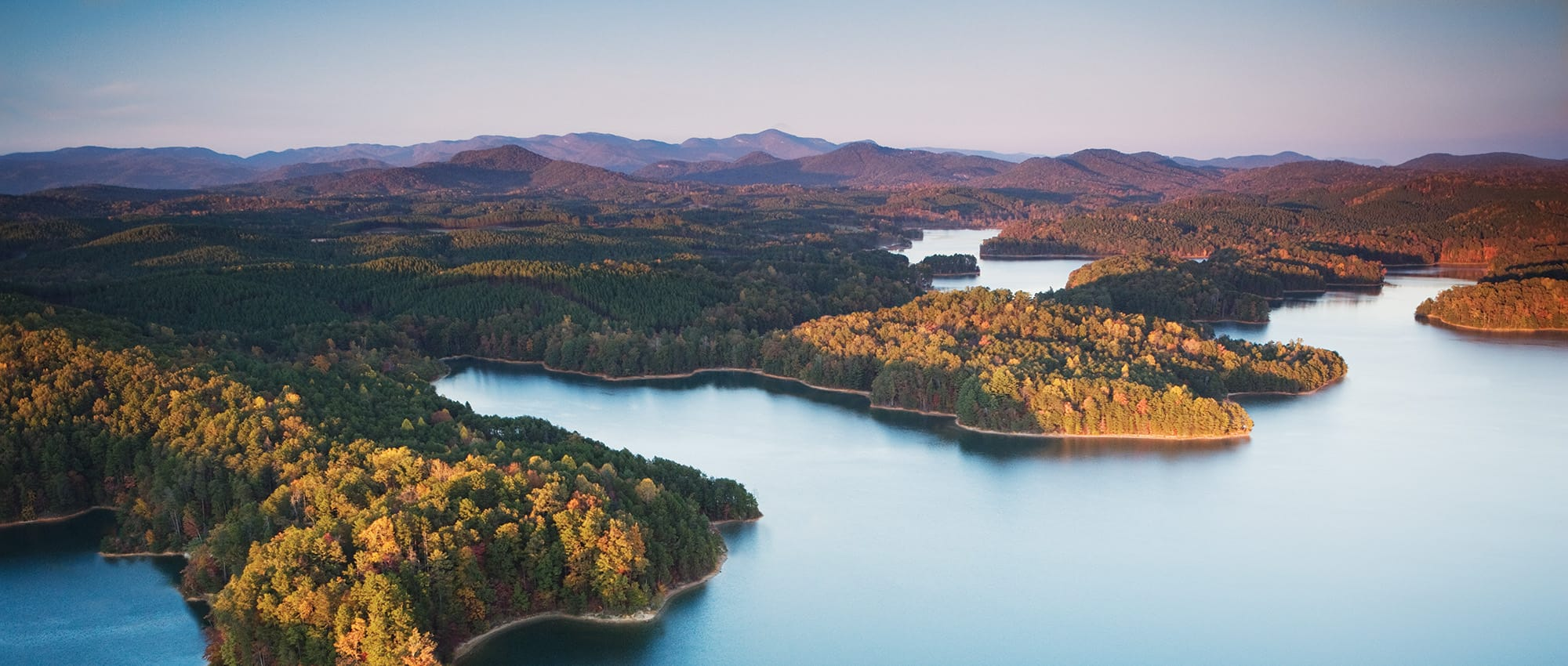 Aerial view of the mountains from Dockside at Lake Keowee