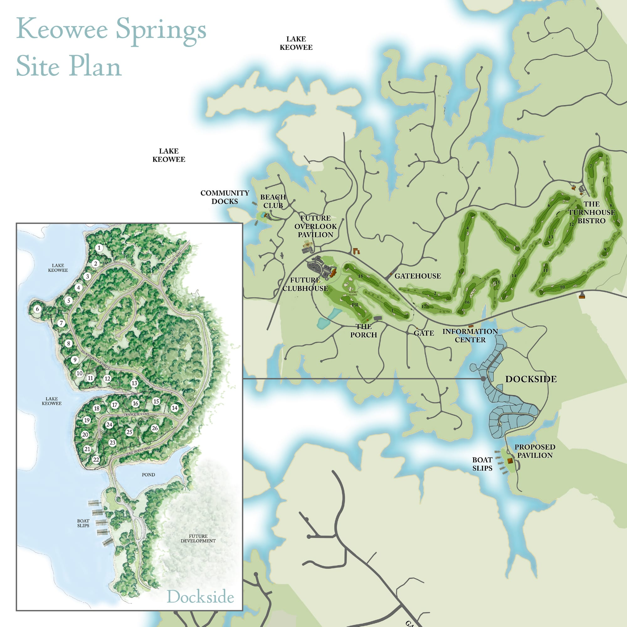 Dockside at Keowee Springs neighborhood map