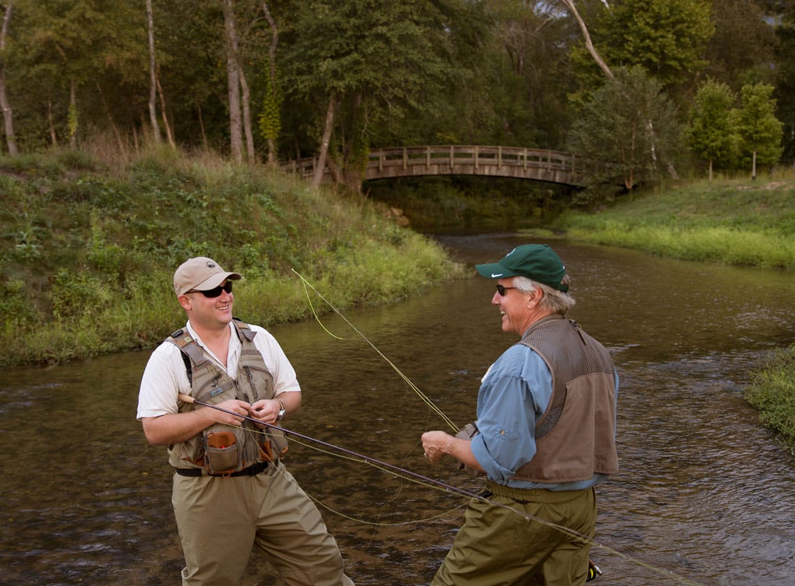 Members fly fishing