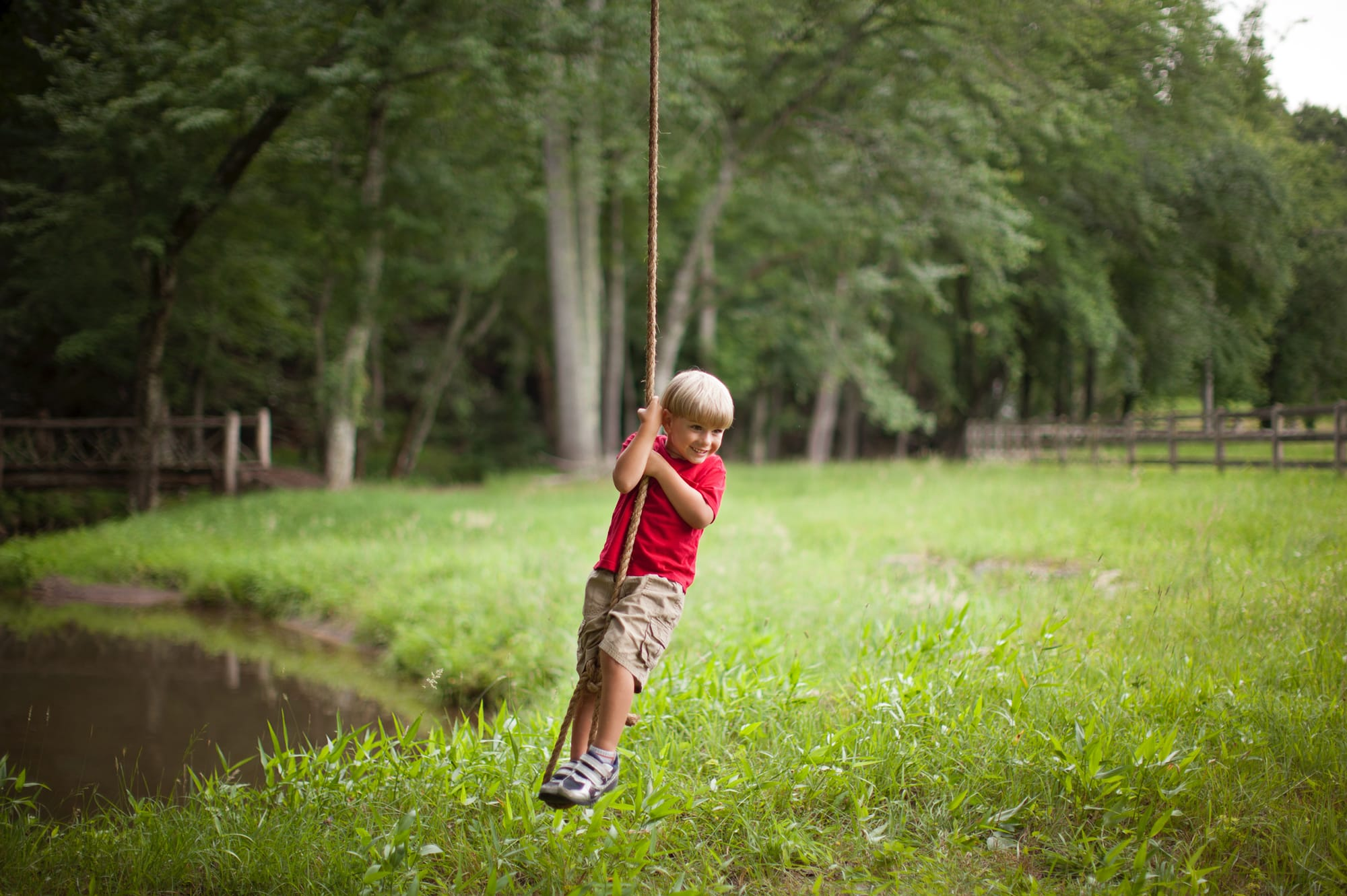 Child on the rope swing