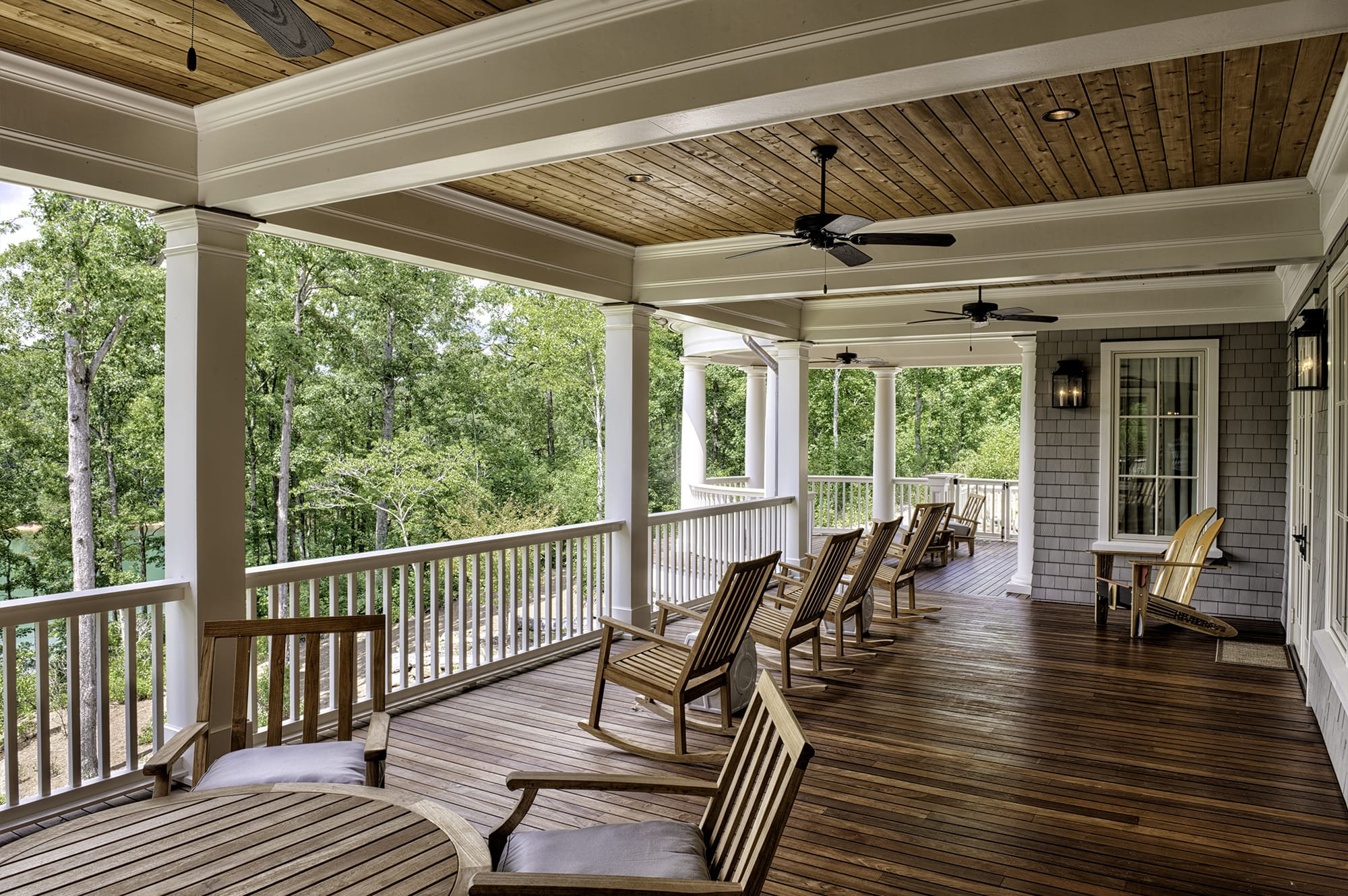 The back porch of a home at The Cliffs