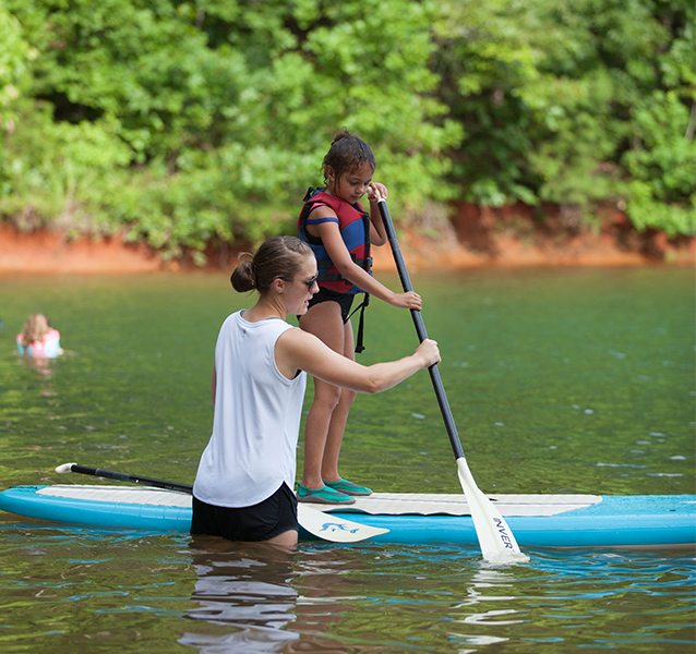 Girl learning to paddleboard