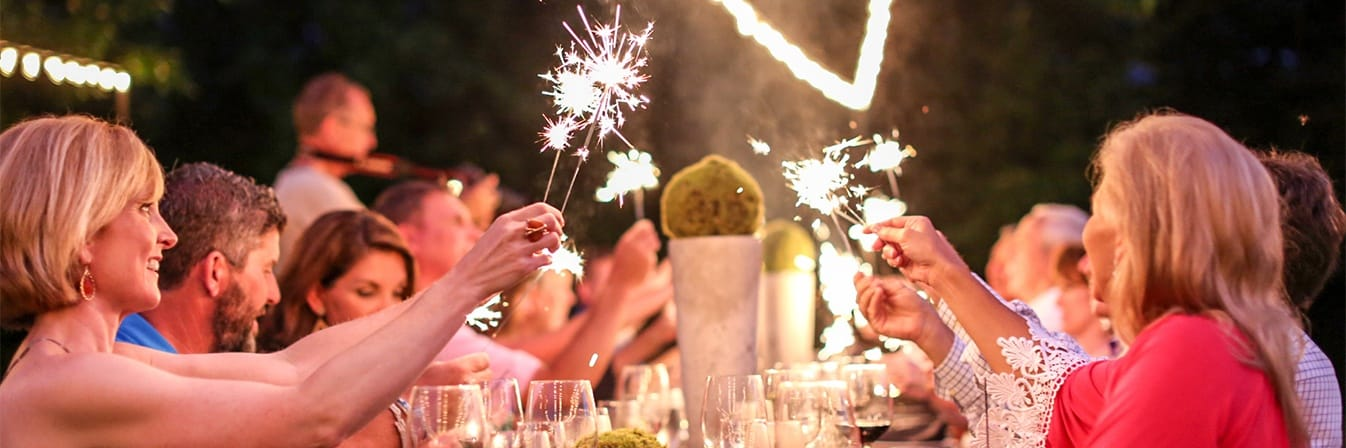 Sparklers at the dinner table