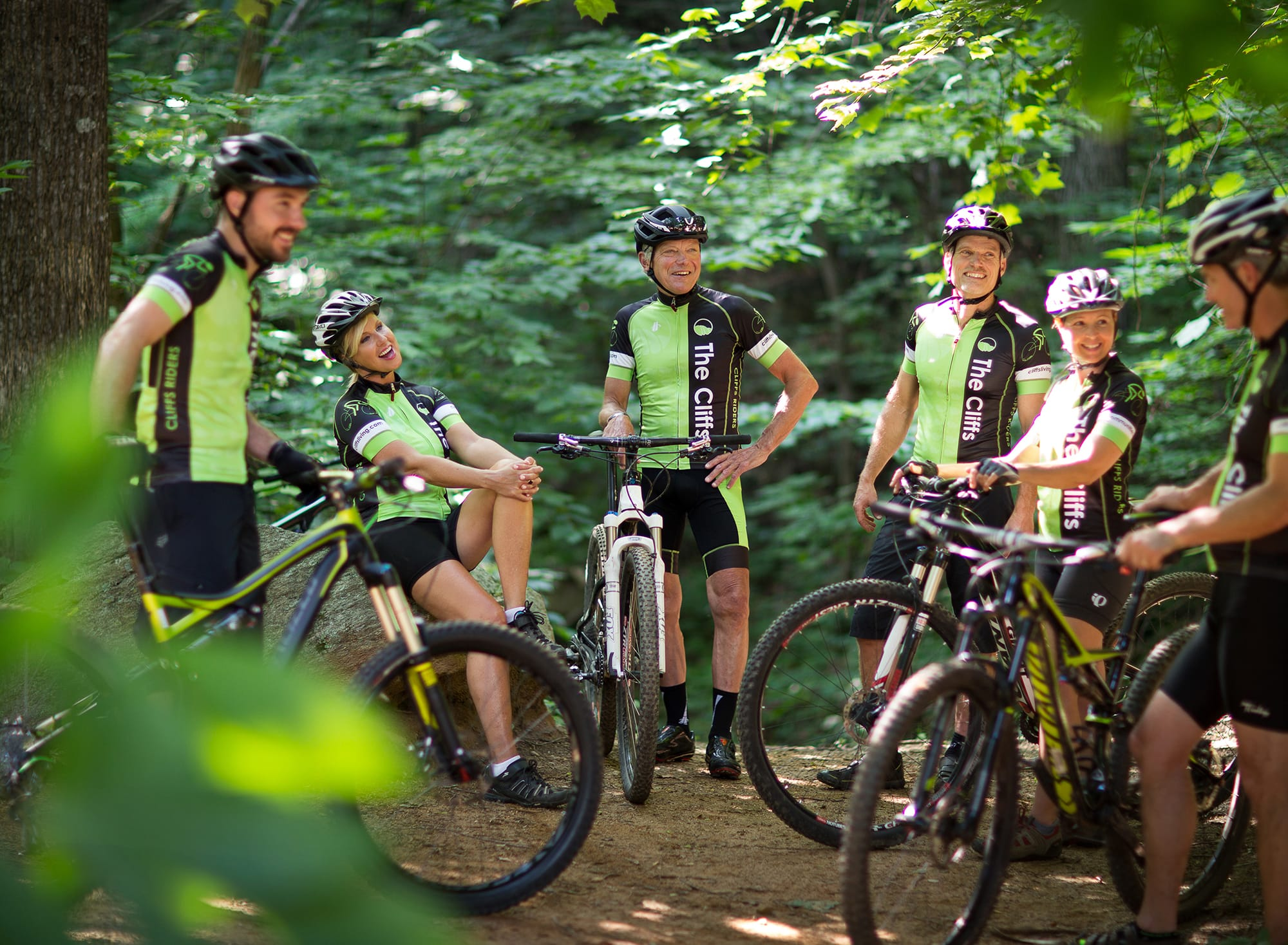 Mountain Bikers take a break on one of The Cliffs many trails