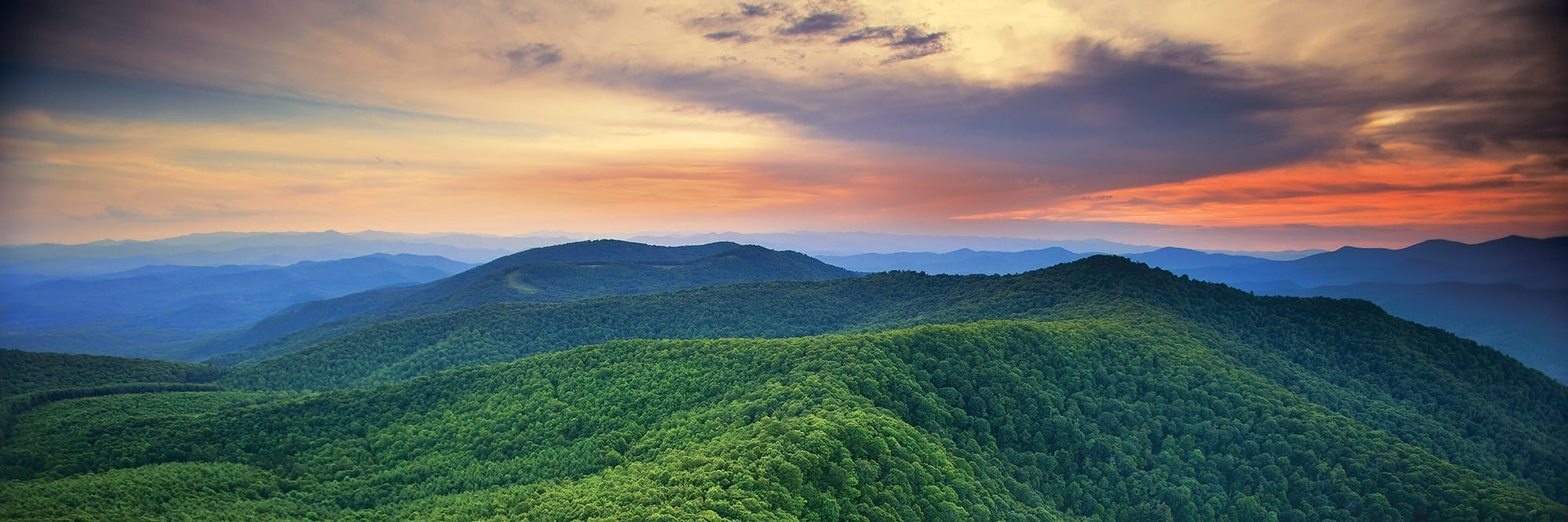 Sunset on The Blue Ridge Mountains