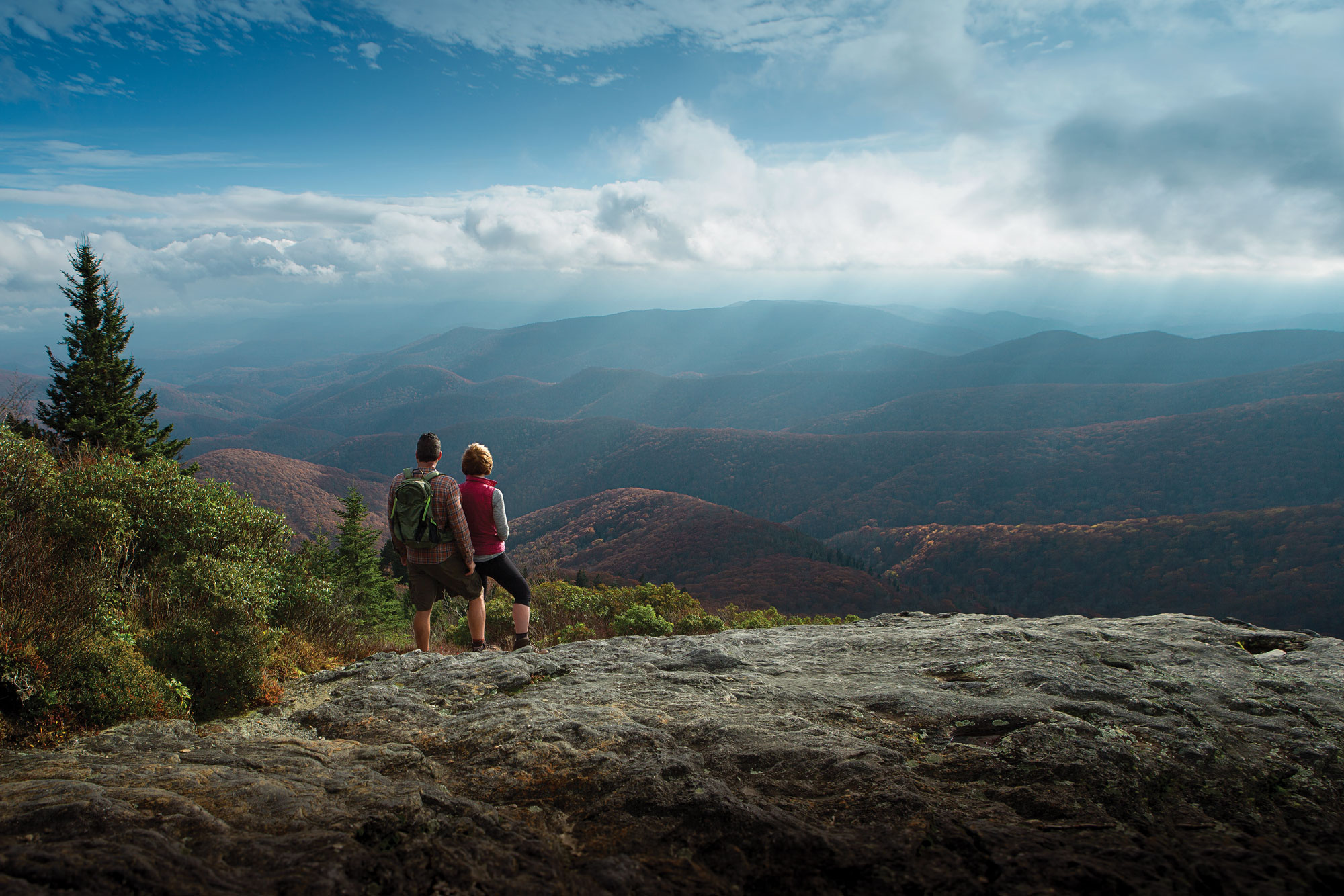 The Cliffs Couple Hiking in the Blue Ridge Mountains