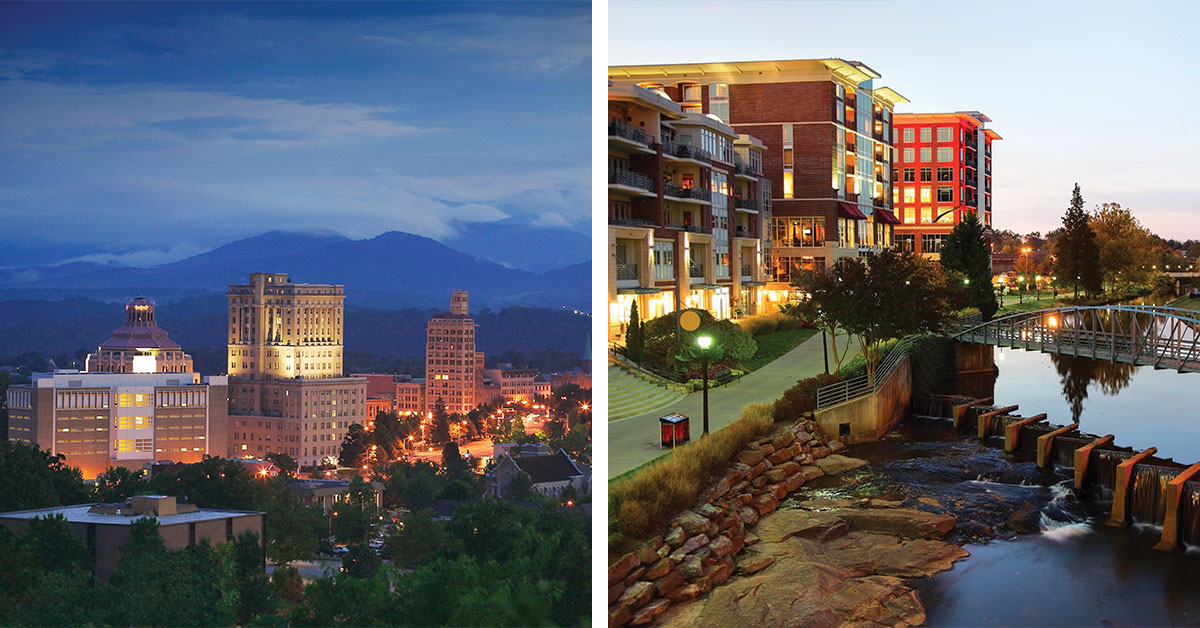 Top 15 Cities Asheville NC and Greenville SC