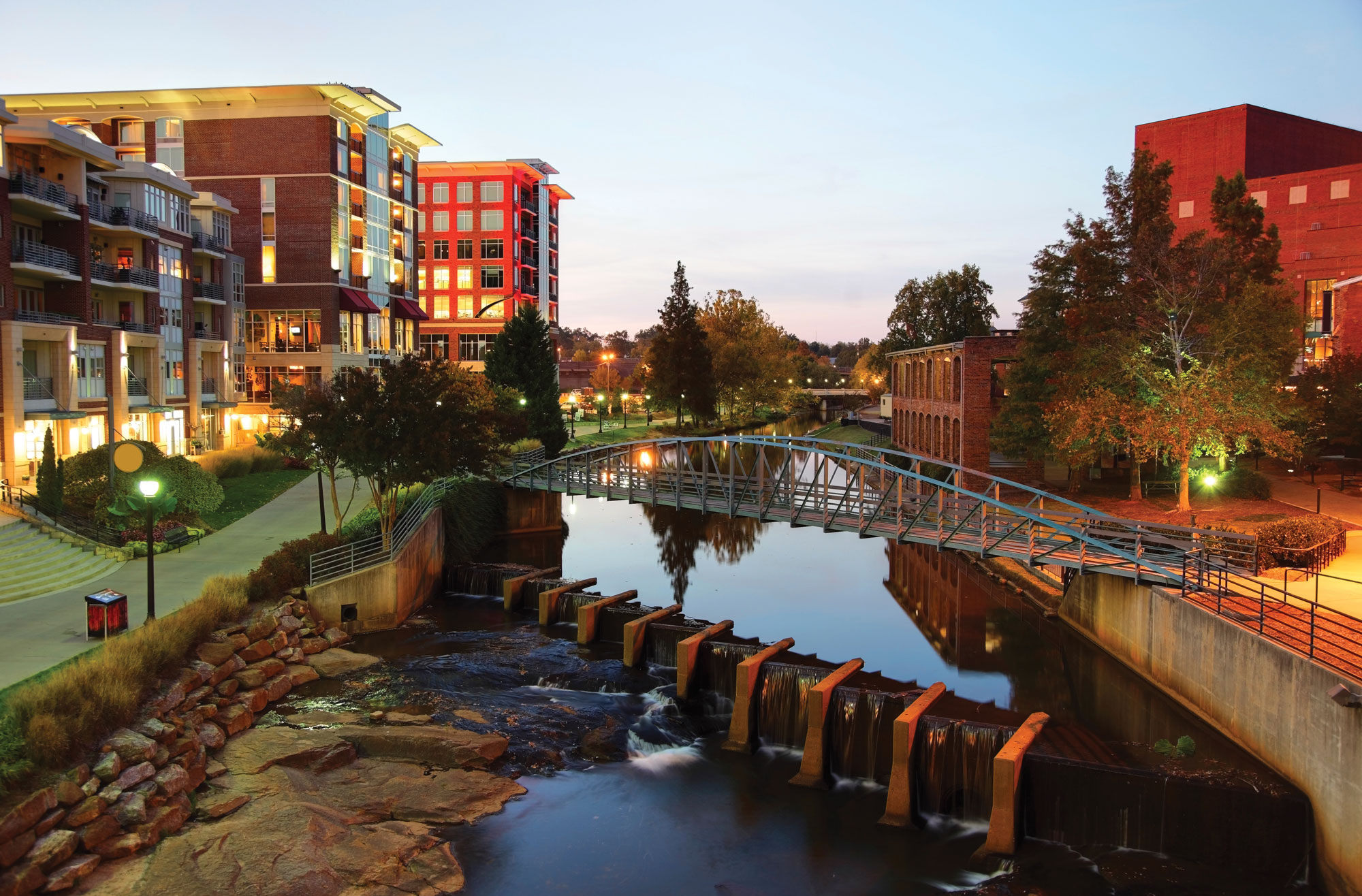 Greenville SC at night