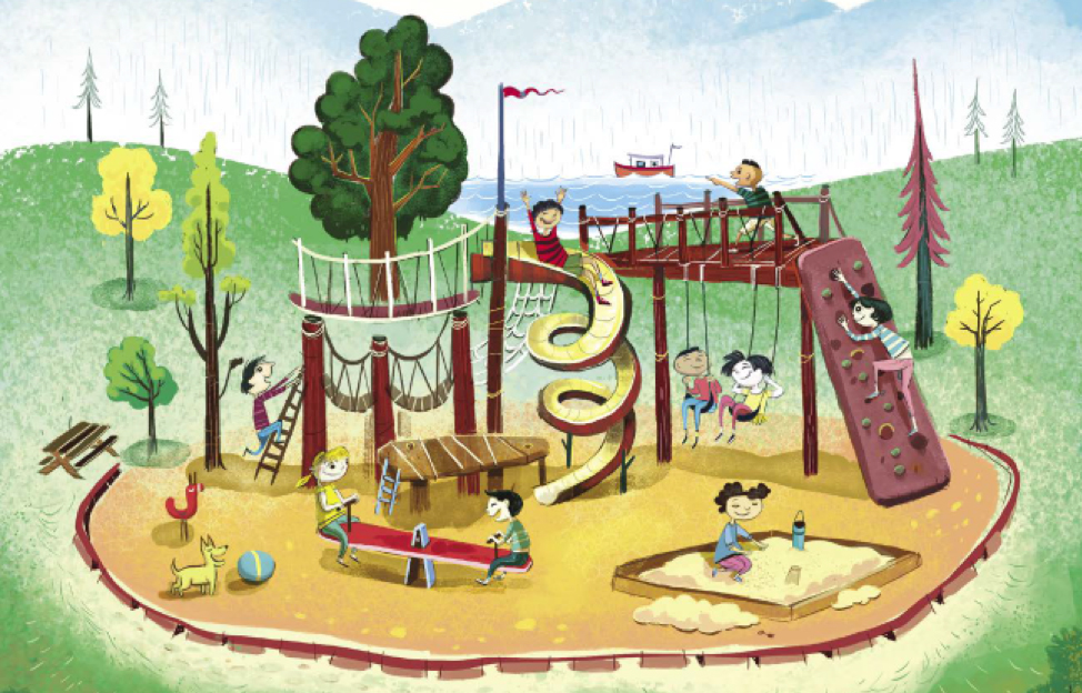 Cliffs Living Magazine Playground Illustration