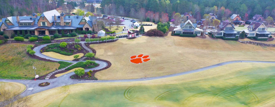 Aerial View of Keowee Falls golf course during Clemson Invitational